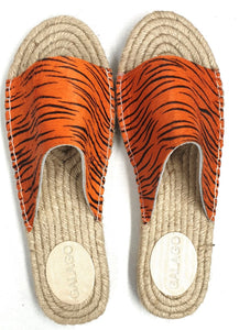 Orange tiger print leather