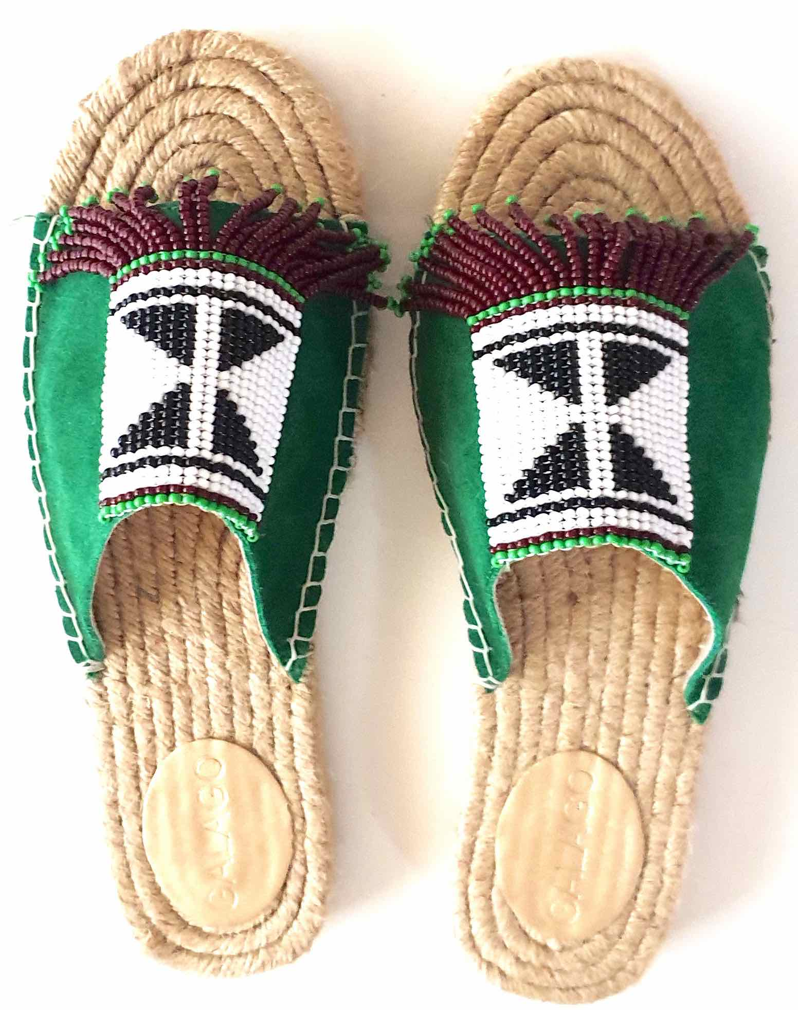 Green  beaded leather
