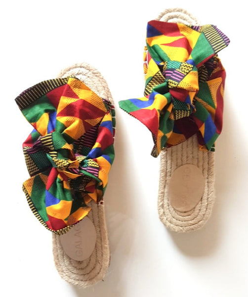 Red Kente Bow Espadrilles