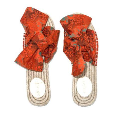 Orange shweshwe Bow Espadrilles