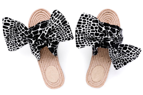 Black/ White  Bow Espadrilles