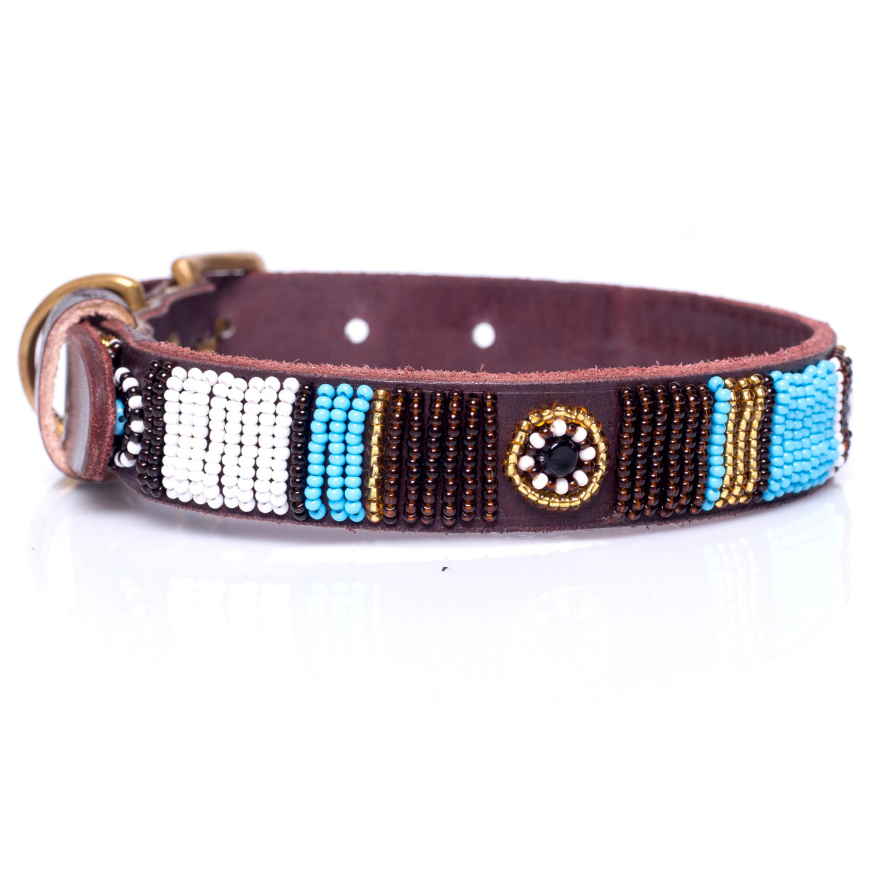 Blue multi dog collar
