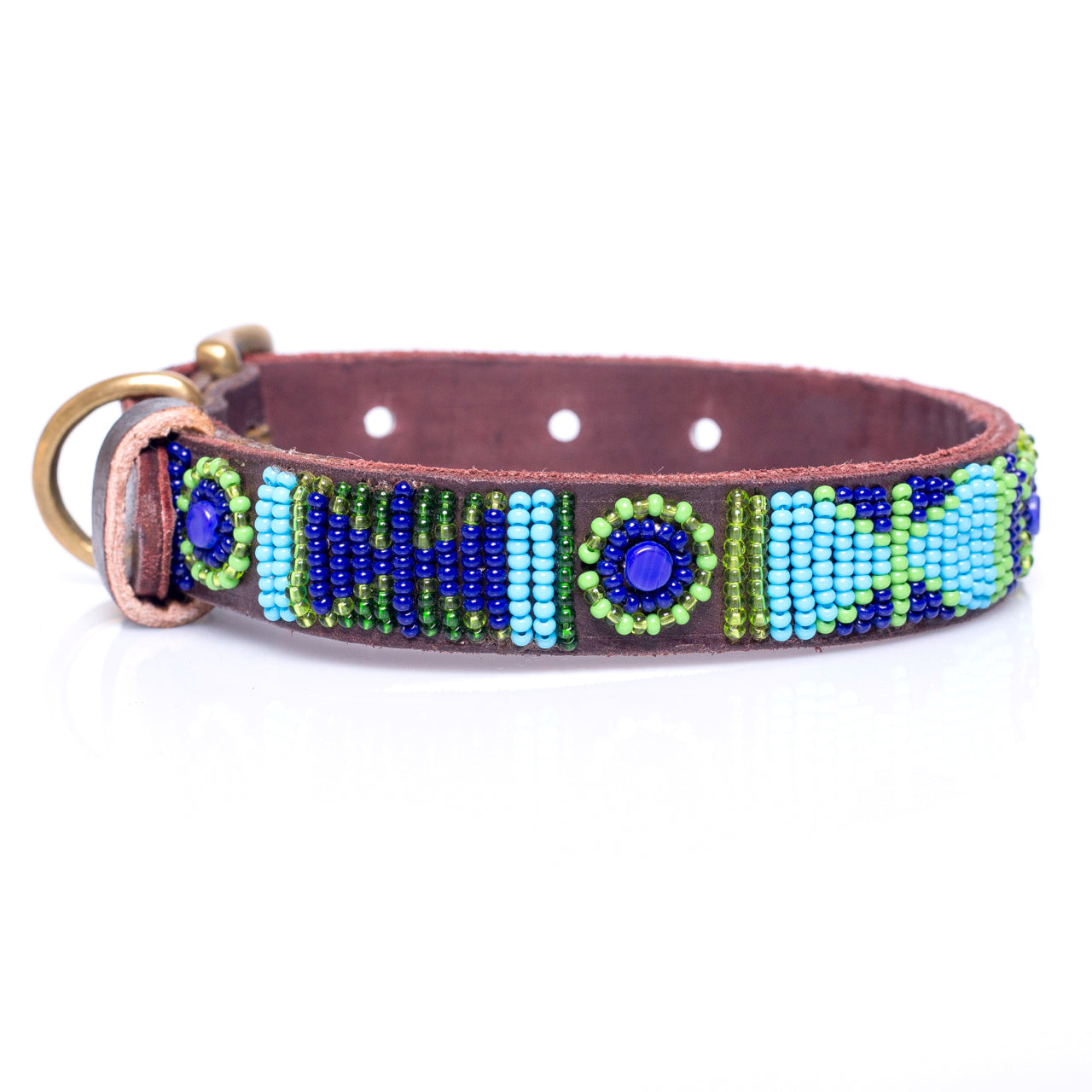 Blue Green  multi dog collar