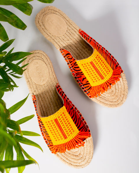 Orange stripe beaded leather