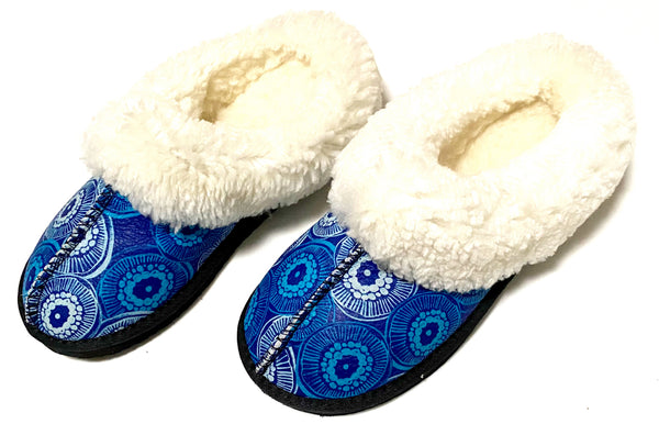 Blue Geo Sheepswool Slippers