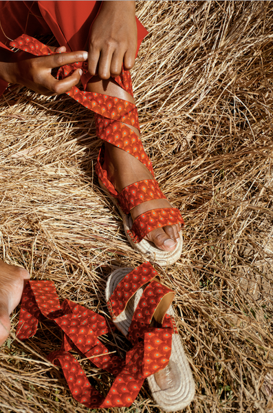 Orange Shwe Ribbon Espadrilles