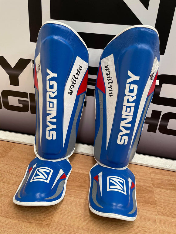 Synergy Shinguards Blue/White