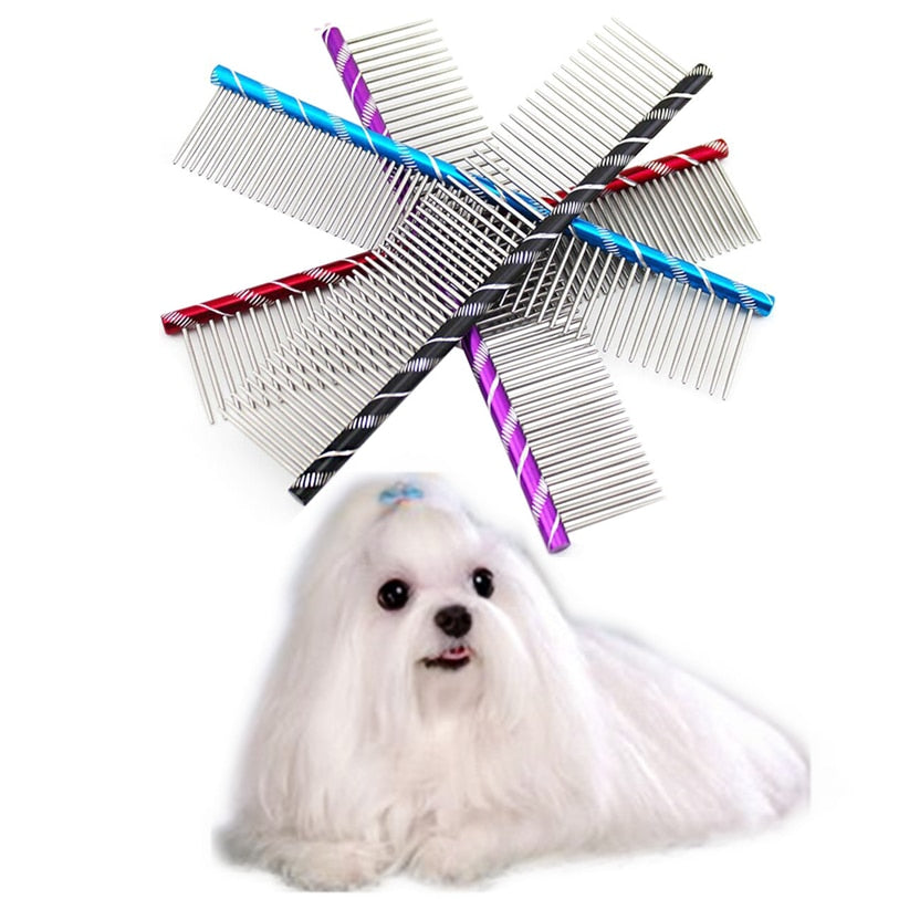 19cm Dog Brush Fancy Stainless Steel Pin Brush Comb For Dogs Cats High Quality Hairbrush Dog Grooming Tool Wholesale #F#40DC20