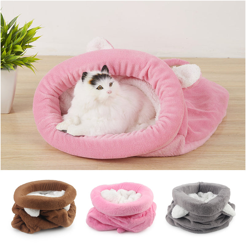 Cute Cat Sleeping Bag Winter Warm Cat Bed Small Dog House For Small Animals Soft Rabbit Nest Cushion Pet Sleep Bag