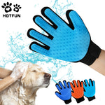 HOTFUN Silicone Dog Pet Brush Glove Comb Deshedding Pet Grooming Supply Hair Remover Massage Gloves Dog Bath Cat cleaning Gloves