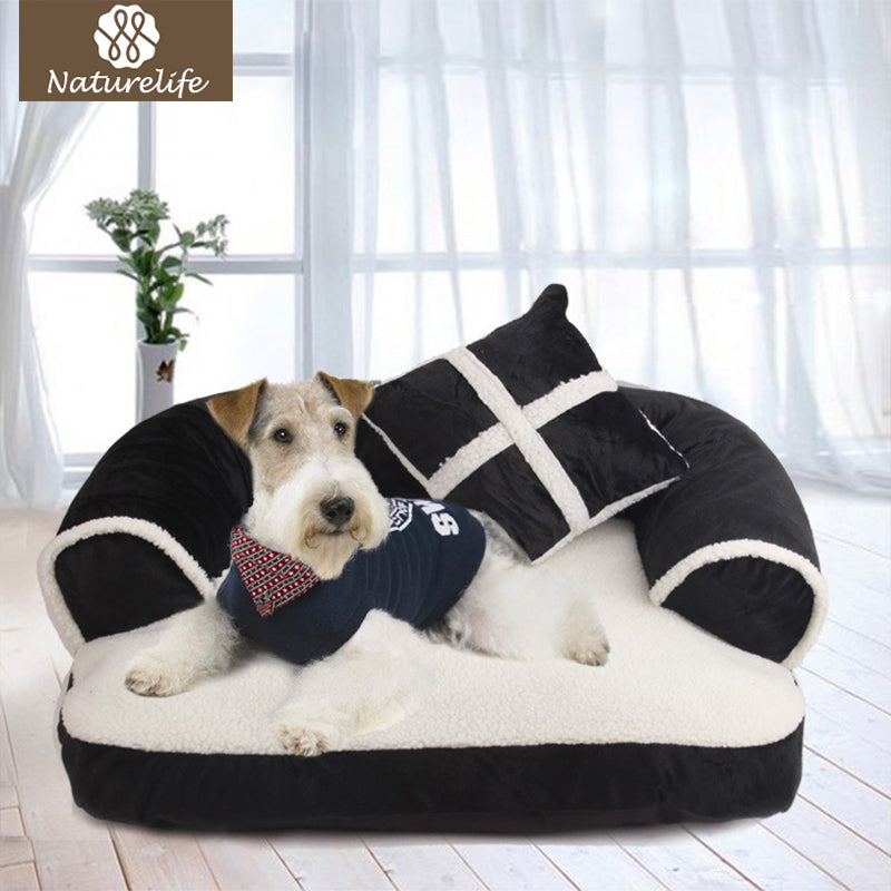 Naturelife Warm Double-Cushion Dog Bed Soft Cotton Dog House Plus Size Pet Bed for Dog and Cat Dog Kennel Drop shipping