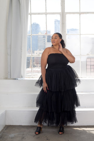 plus size model in off shoulder tiered tulle maxi dresses