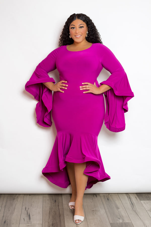 buxom curvy couture womens plus size angel sleeve flounce sleeve in magenta