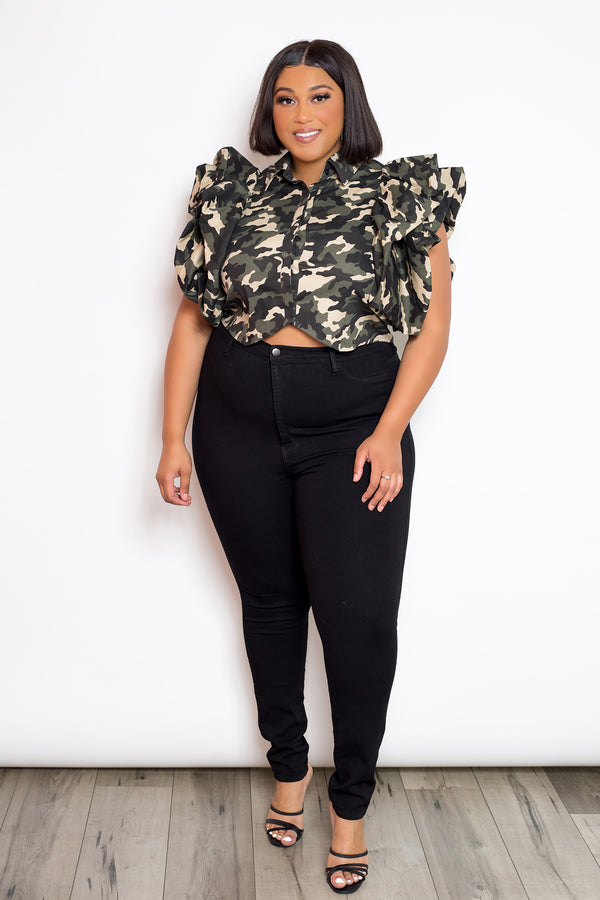Exaggerated Short Sleeve Camo Crop Top