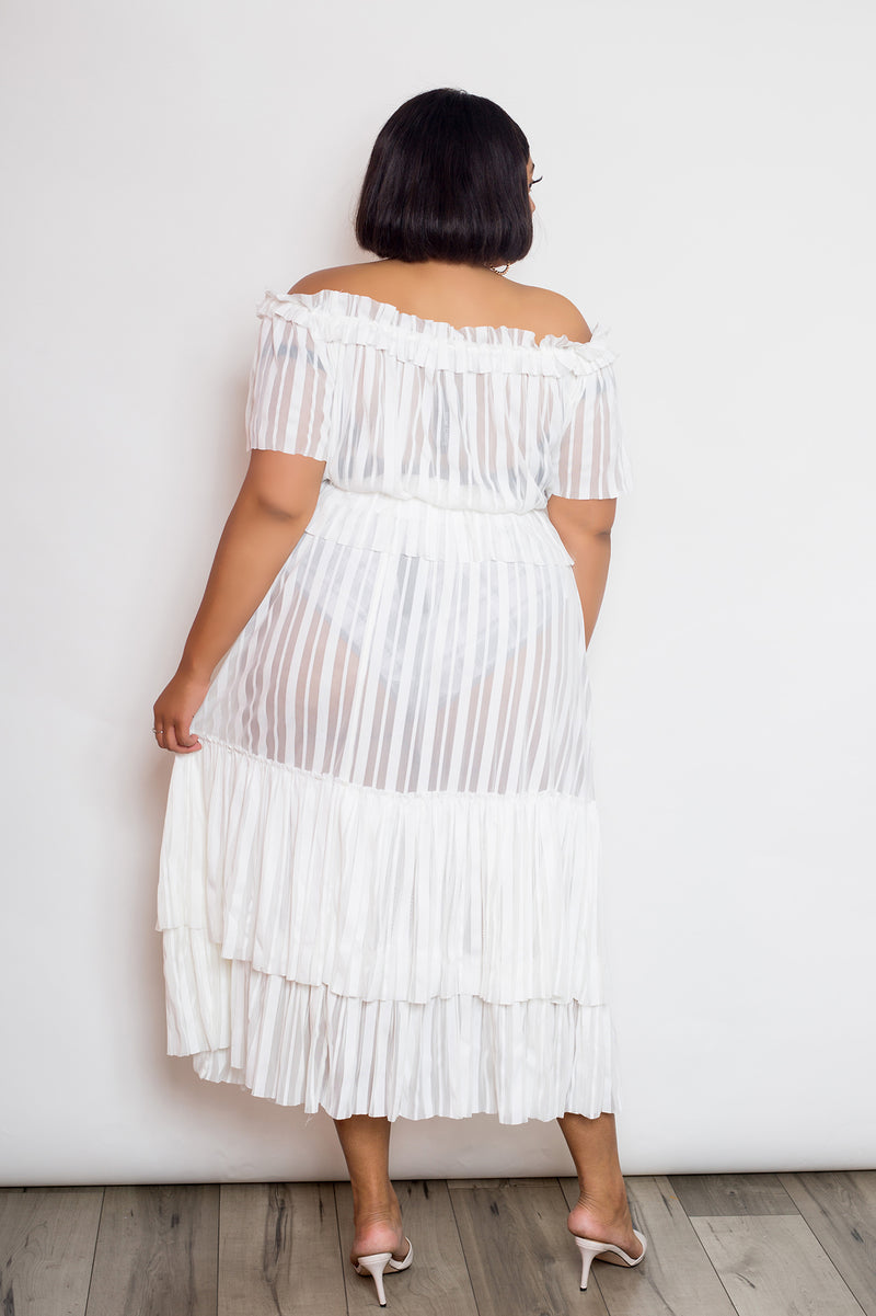 buxom curvy couture womens plus size white off shoulder cropped top maxi skirt see through sheer peplum tiered hem