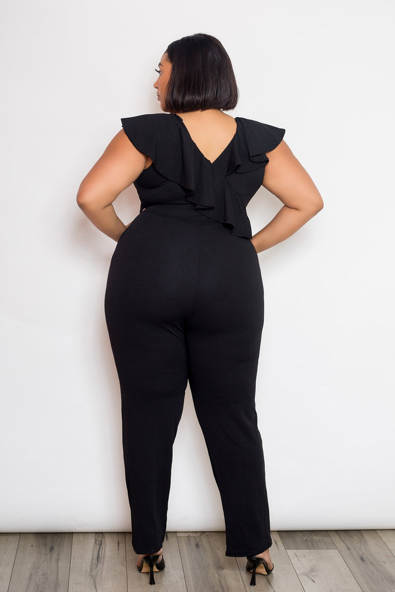 buxom curvy couture womens plus size cascade ruffle jumpsuit black