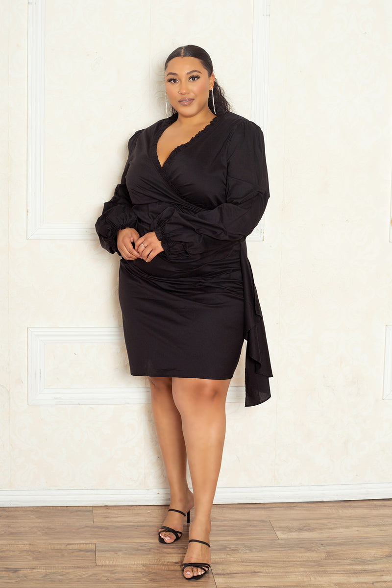 buxom curvy couture women plus size faux wrap dress with side shirring in black