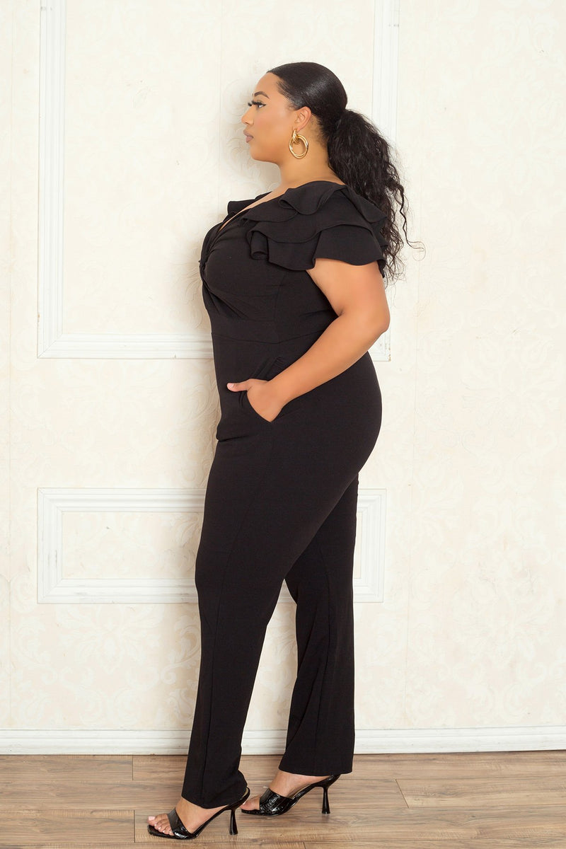 buxom curvy couture women plus size off shoulder ruffle flutter jumpsuit tapered black