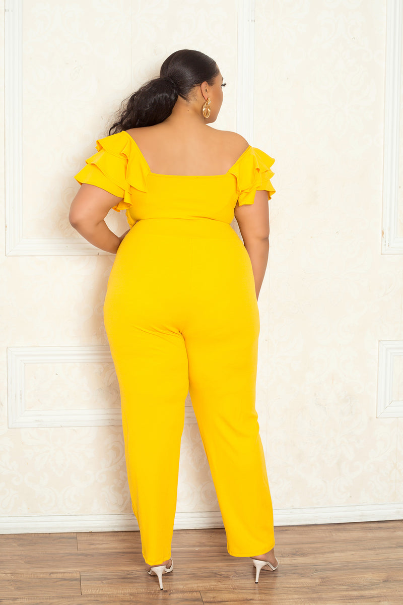 Off Shoulder Ruffled Flutter Jumpsuit
