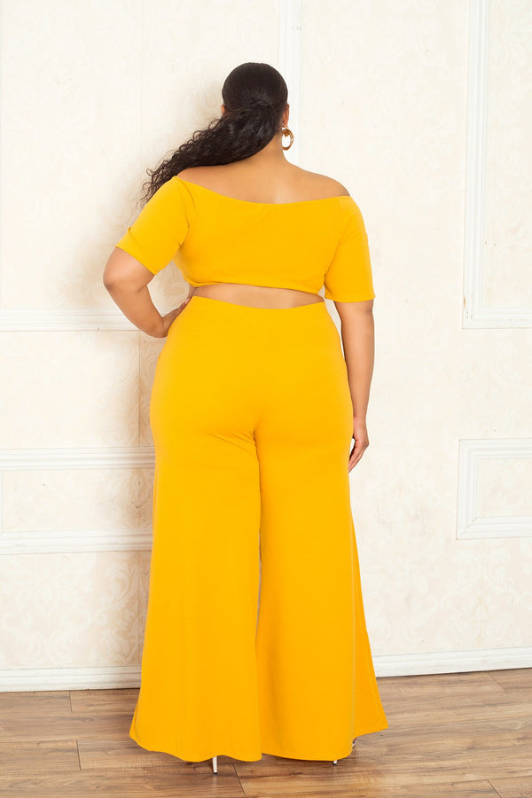 buxom curvy couture women plus size crop top palazzo pants matching set yellow mustard