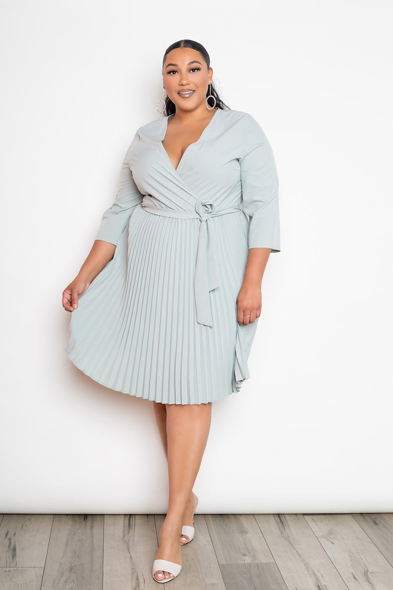 buxom curvy couture womens plus size pleated wrap dress in sage green