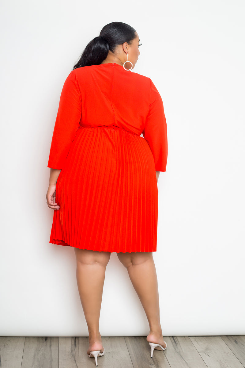 buxom curvy couture womens plus size pleated wrap dress in orange red