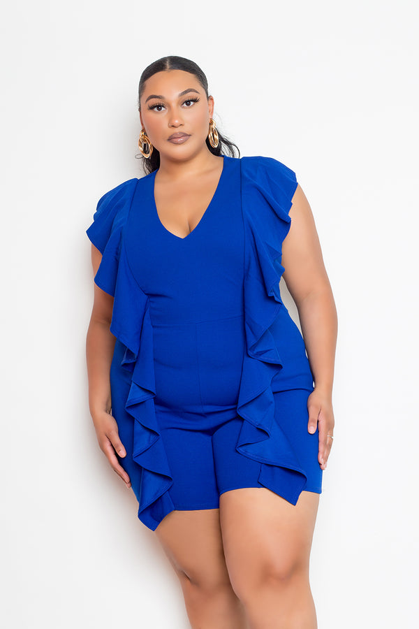 buxom couture curvy women plus size cascade ruffle romper royal blue