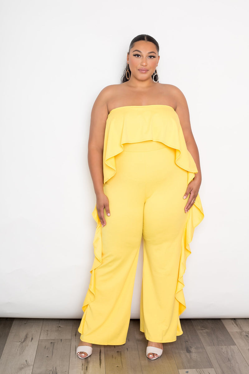 buxom couture curvy women plus size strapless cascade ruffle jumpsuit yellow
