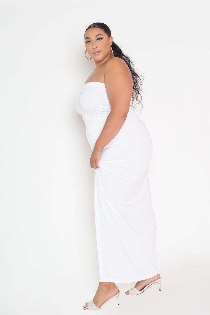 buxom couture curvy women plus size seamless modal premium quality maxi dress tube white