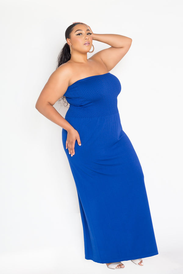 buxom couture curvy women plus size  premium quality seamless modal tube maxi dress royal blue