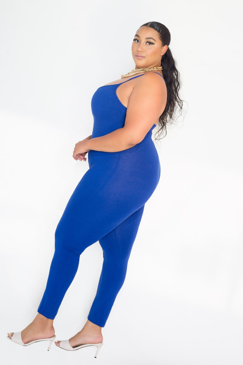 buxom couture curvy women plus size everyday spaghetti strap bodysuit catsuit blue