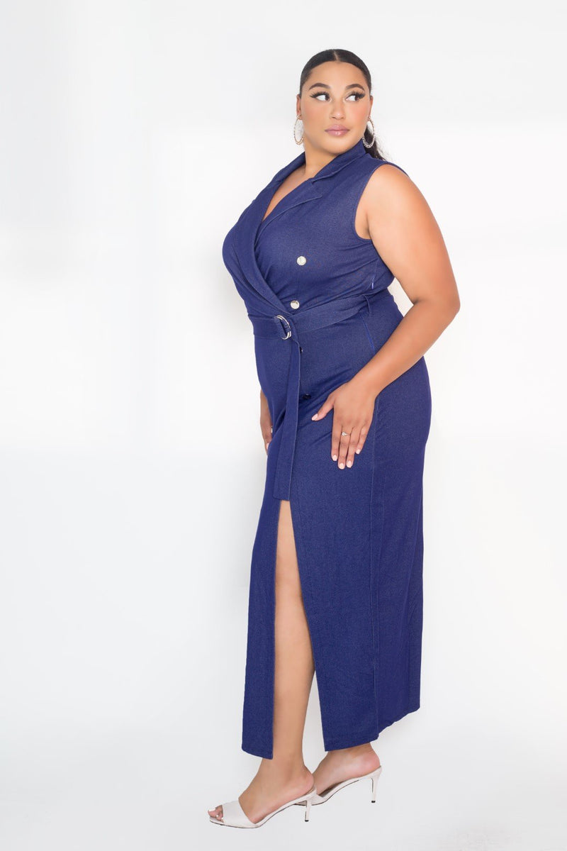 buxom couture curvy women plus size denim sleeveless blazer maxi dress double slit