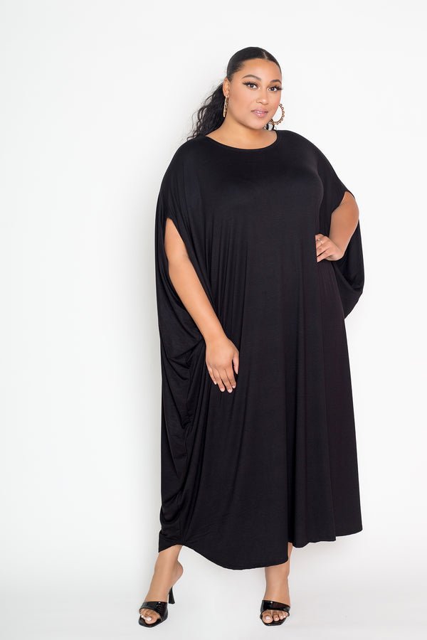 buxom couture curvy women plus size oversized t-shirt draped dress premium quality black