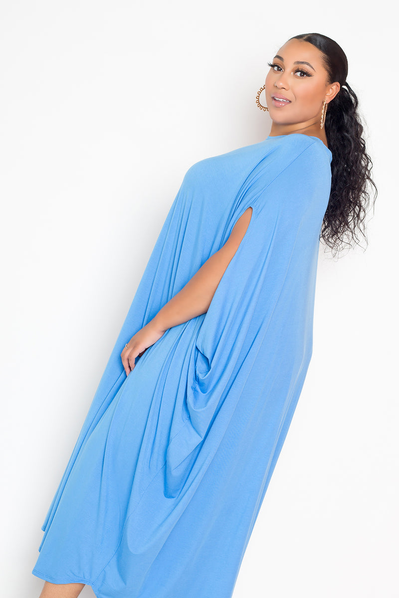 buxom couture curvy women plus size oversized t-shirt draped dress premium quality electric light blue