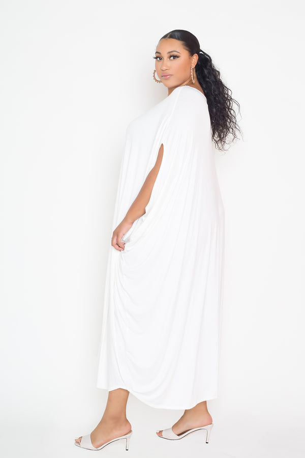 buxom couture curvy women plus size oversized t-shirt draped dress premium quality white ivory
