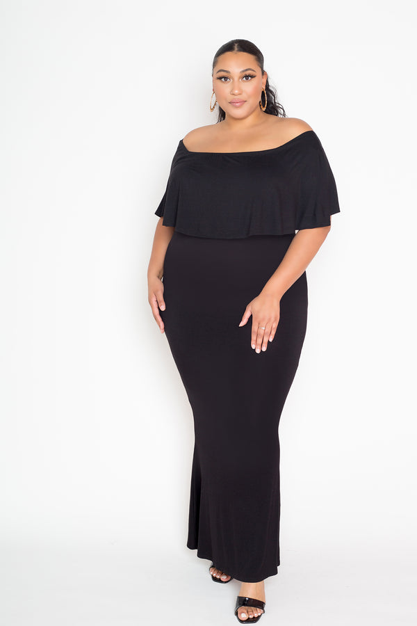 buxom couture curvy women plus size flounce off shoulder maxi dress black