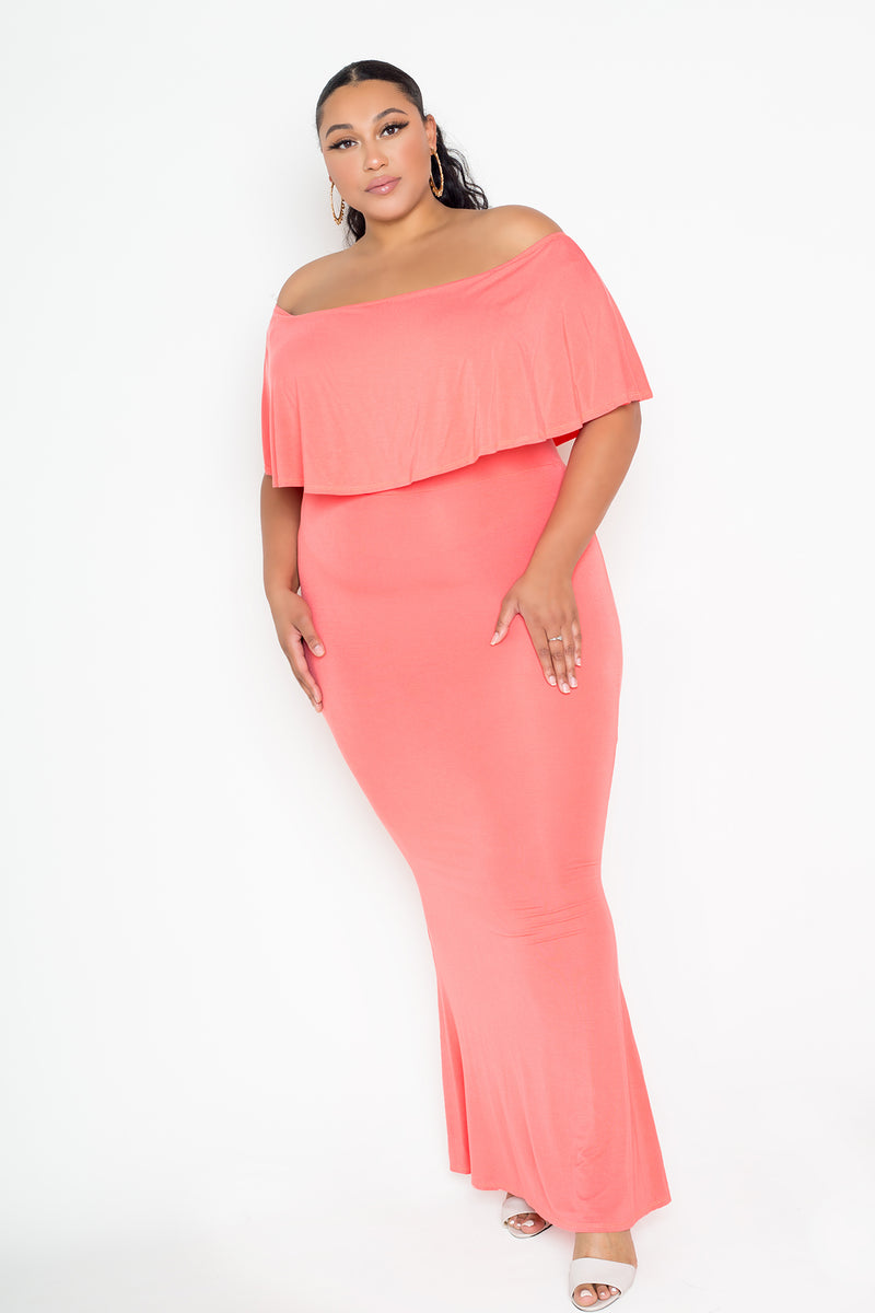 buxom couture curvy women plus size flounce off shoulder maxi dress pink orange coral
