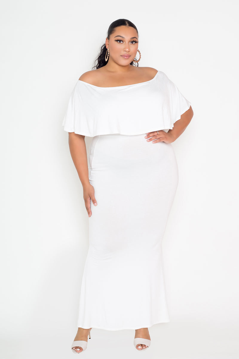 buxom couture curvy women plus size flounce off shoulder maxi dress ivory white