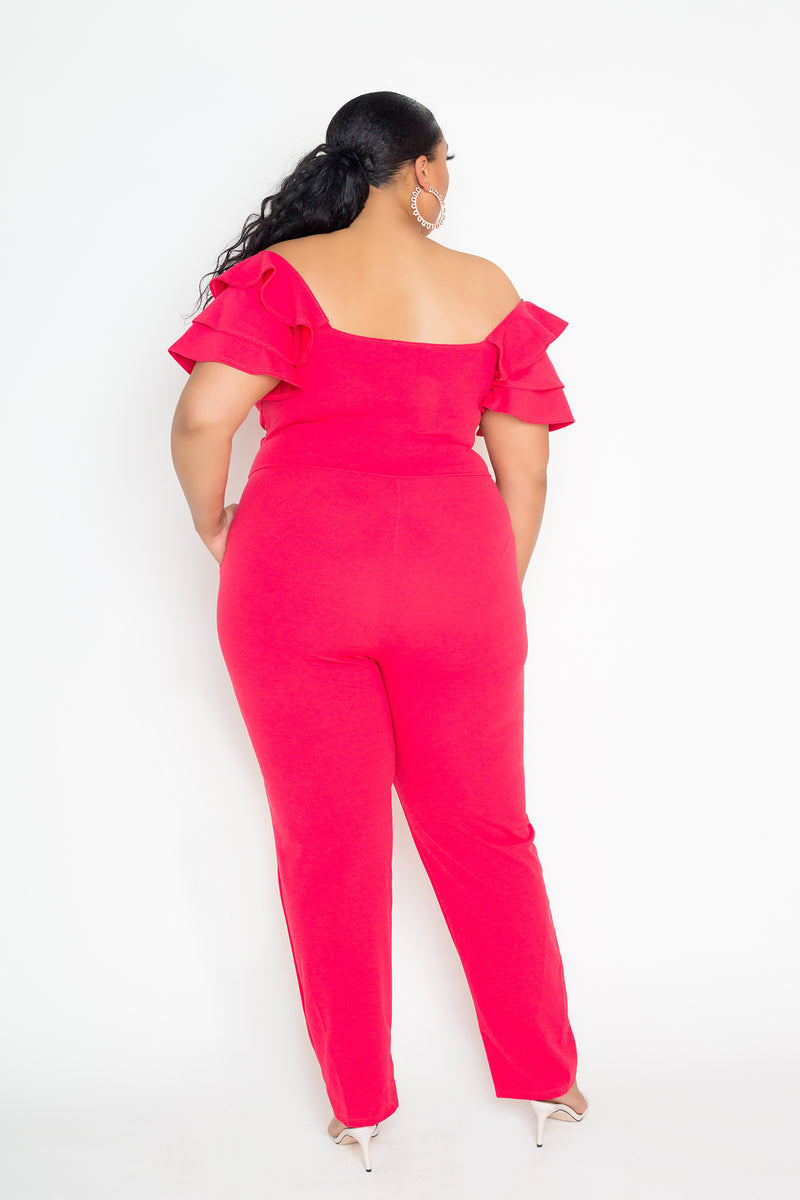 buxom couture curvy women plus size Off Shoulder Ruffled Flutter Jumpsuit fuchsia coral pink