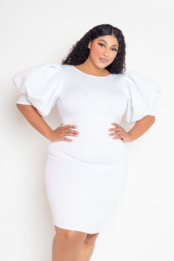 buxom couture curvy women plus size exaggerated sleeves scuba midi dress white