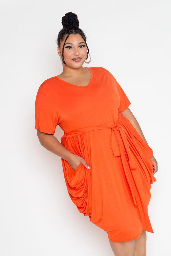 buxom couture curvy women plus size double ruched dress orange
