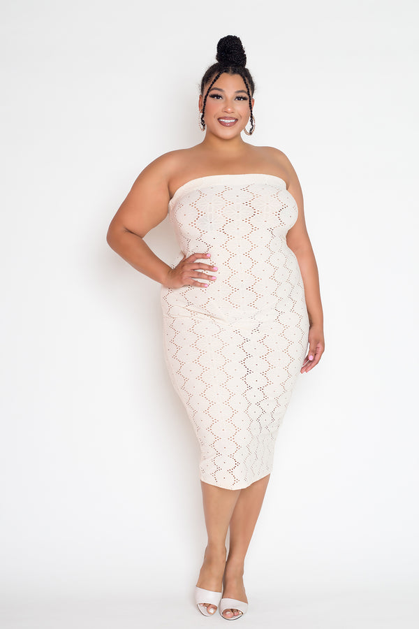 buxom couture curvy women plus size eyelet tube dress ivory cream white