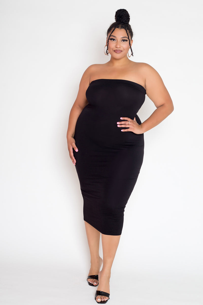 buxom couture curvy women plus size strapless midi tube dress black