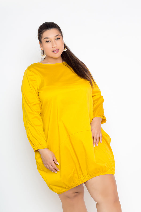 buxom curvy couture womens plus size bubble poplin dress in mustard yellow