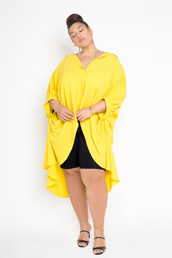 buxom curvy couture womens plus size button up wing sleeve top in mustard yellow