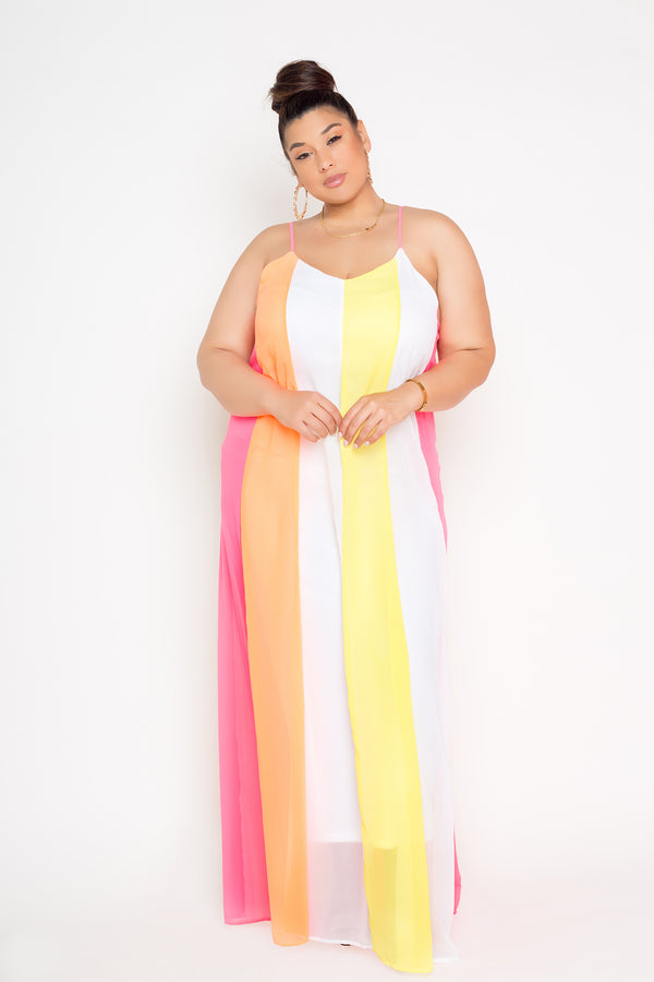 buxom couture curvy women plus size color block summertime maxi dress