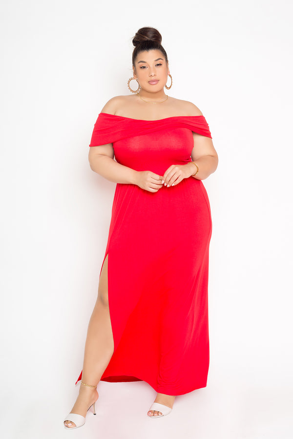 buxom couture womens plus size off shoulder flounce dress in red
