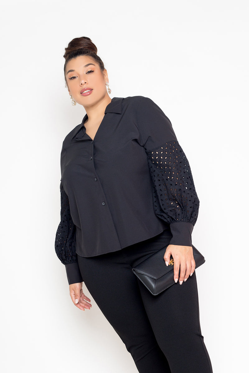 buxom curvy couture womens plus size white button down with eyelet puffed sleeves black