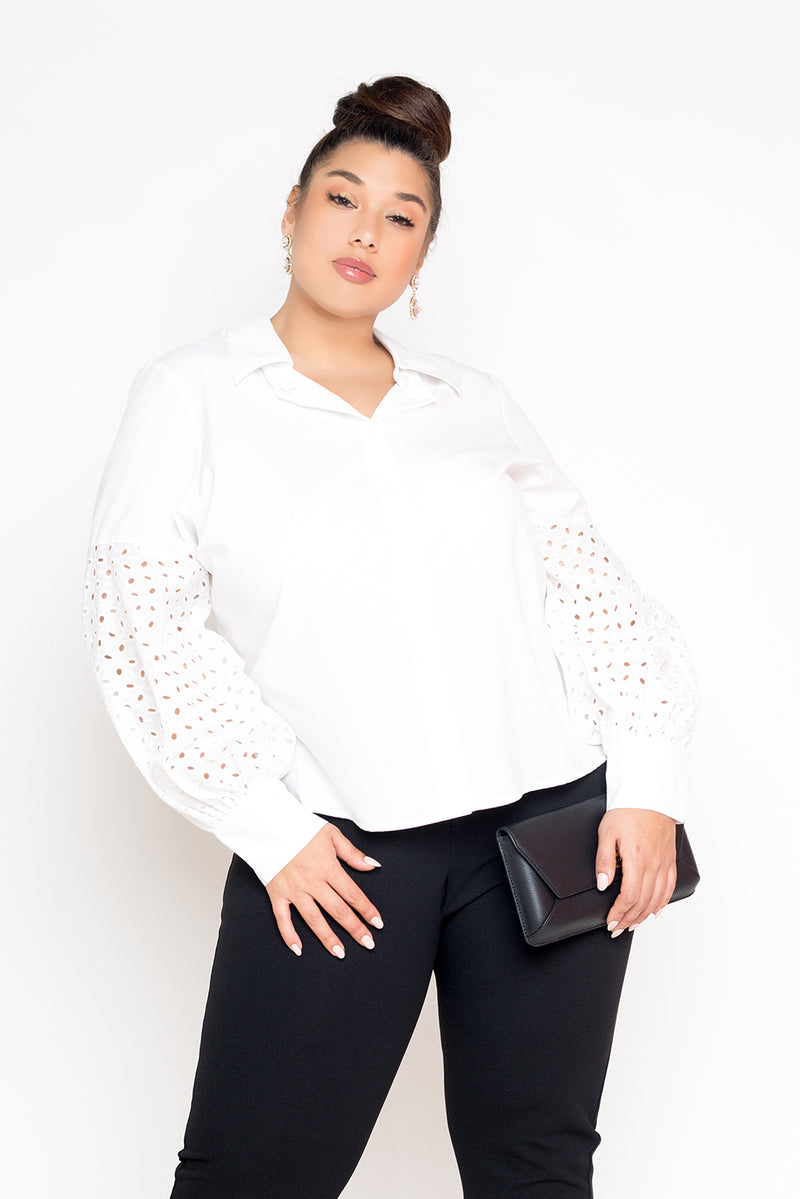 buxom curvy couture womens plus size white button down with eyelet puffed sleeves