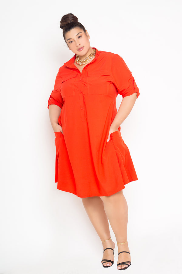 buxom curvy couture womens plus size button up collarless dress with pockets in orange red